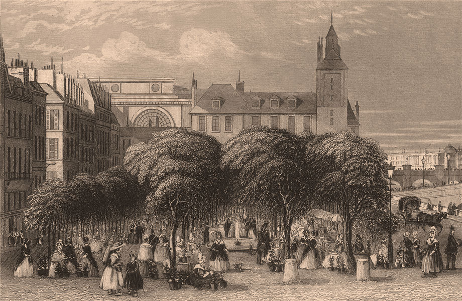 Associate Product PARIS. The flower & shrub market. BICKNELL 1845 old antique print picture