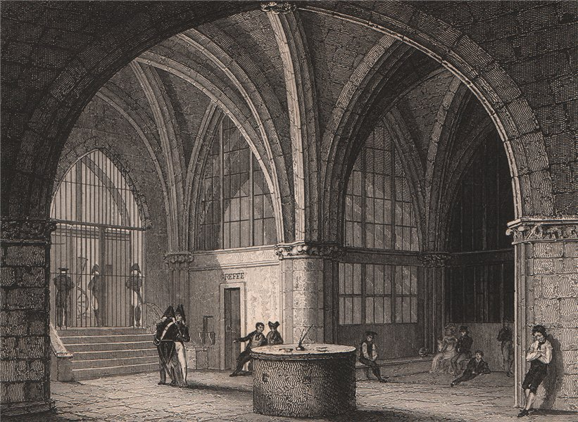 Associate Product PARIS. L'entrée de la prison de la Conciergerie. BICKNELL 1845 old print