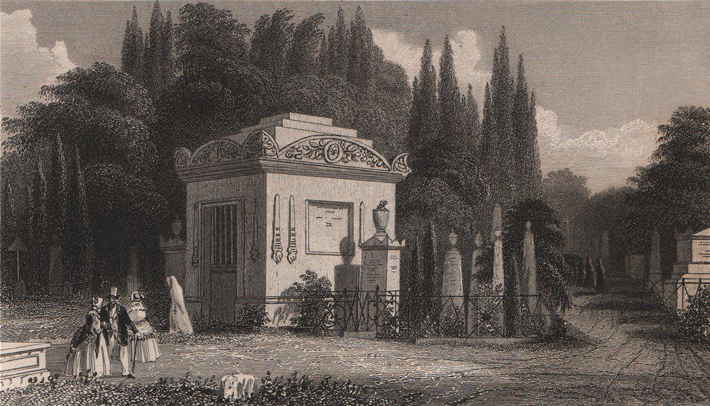 Associate Product PARIS. Monument, Père Lachaise. BICKNELL 1845 old antique print picture