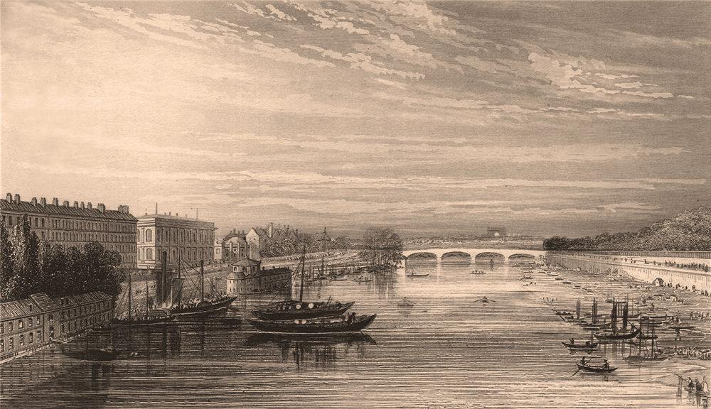 Associate Product PARIS. Pont de la Concorde from Pont Royal. BICKNELL 1845 old antique print