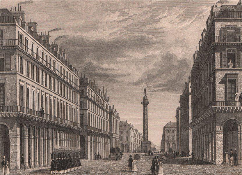 Associate Product PARIS. Rue Castiglione (qui donne vers la Place Vendôme). BICKNELL 1845 print