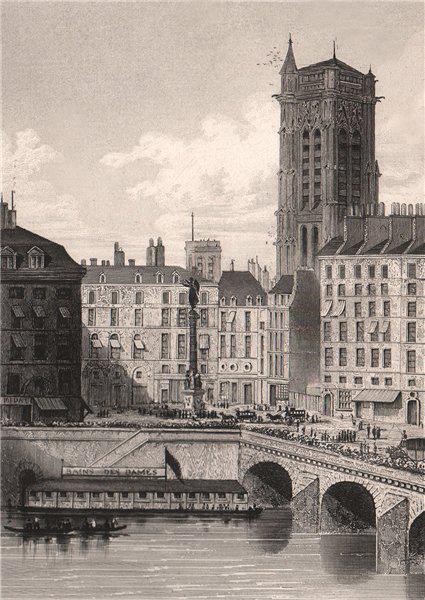 Associate Product PARIS. Place du Chatelet (prise du Quai de l'Horloge). BICKNELL 1845 old print