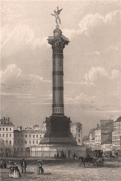 Associate Product PARIS. Colonne de Juillet. BICKNELL 1845 old antique vintage print picture