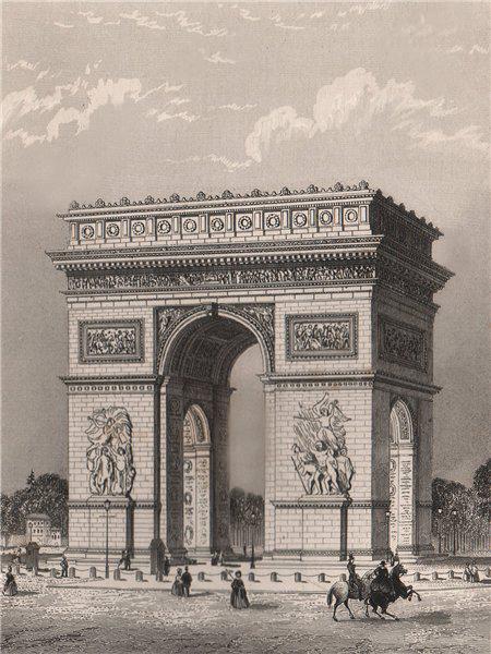 Associate Product PARIS. Arc de Triomphe de l'Etoile. BICKNELL 1845 old antique print picture