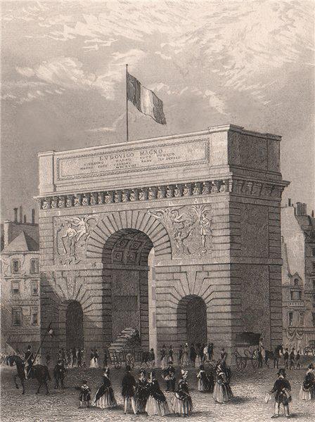 Associate Product PARIS. Porte Saint-Martin. BICKNELL 1845 old antique vintage print picture