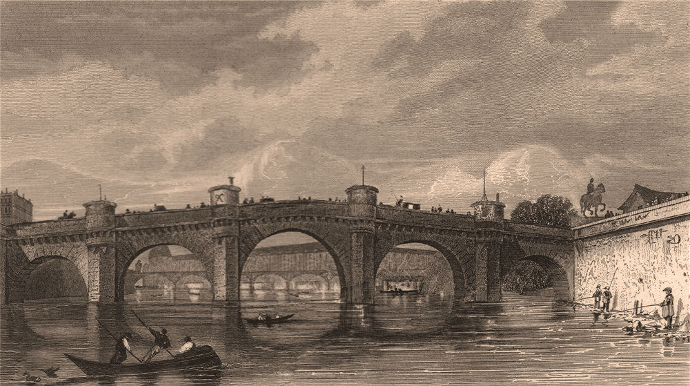 Associate Product PARIS. Vue du Pont Neuf, prise entre le quais Augustins/Orfévres. BICKNELL 1845