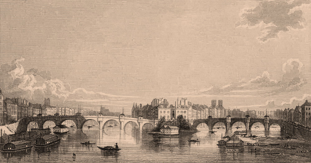 Associate Product PARIS. Pont Neuf, from Pont des Arts. BICKNELL 1845 old antique print picture