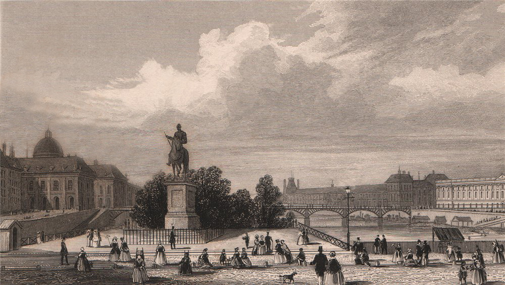 Associate Product PARIS. Statue of Henry IV on Pont Neuf. BICKNELL 1845 old antique print