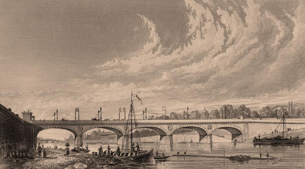 Associate Product PARIS. Pont de Jena. BICKNELL 1845 old antique vintage print picture