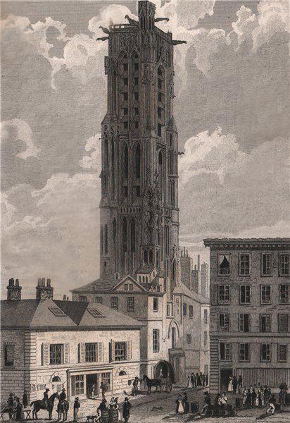 Associate Product PARIS. Tour de Saint-Jacques, la Boucherie. BICKNELL 1845 old antique print