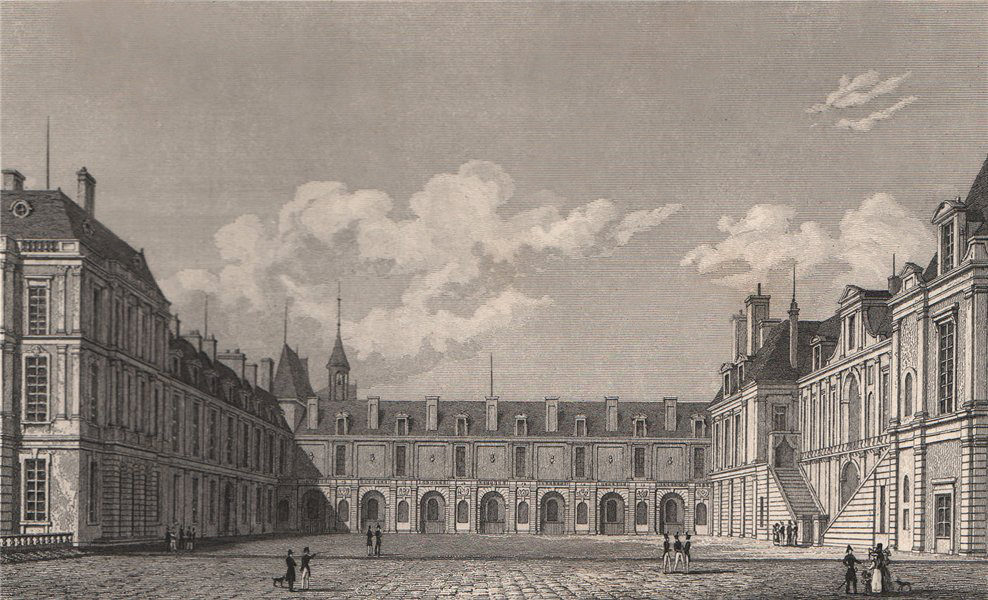 Fontainebleau, Cour des Fontaines. Seine-et-Marne. BICKNELL 1845 old print