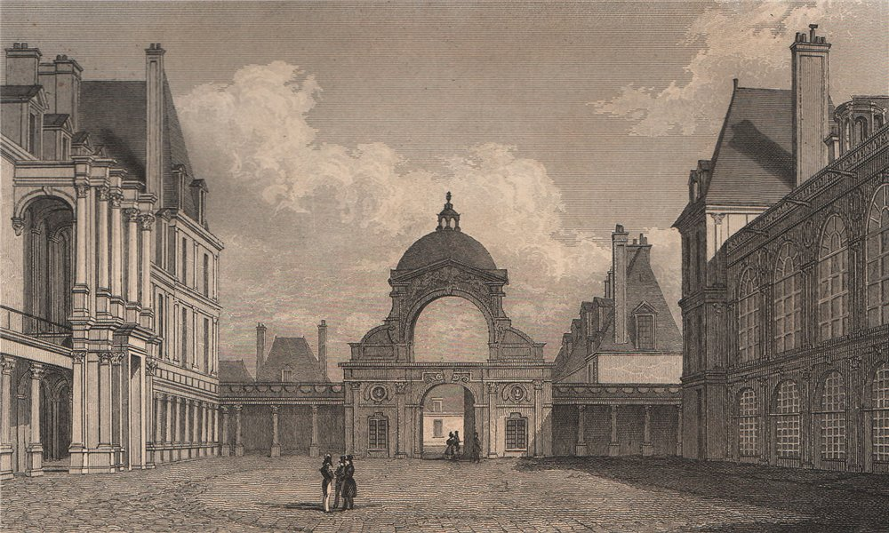Associate Product Fontainebleau, Cour d'Honneur. Seine-et-Marne. BICKNELL 1845 old antique print
