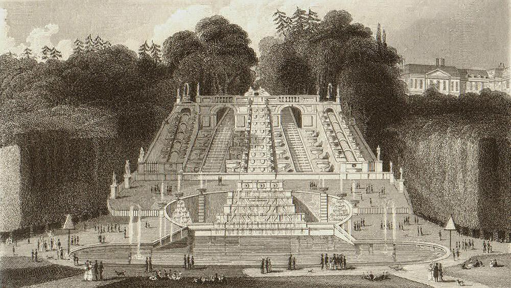 Associate Product Cascade de Saint-Cloud. Hauts-de-Seine. BICKNELL 1845 old antique print