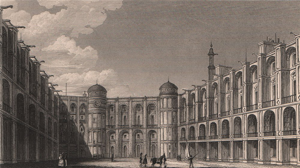 Cour du Chateau de Saint-Germain-en-Laye. Yvelines. BICKNELL 1845 old print