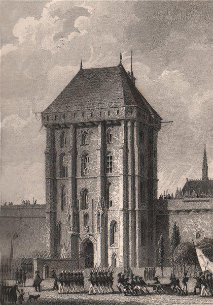 Associate Product Porte d'entrée, Chateau de Vincennes. Val-de-Marne. BICKNELL 1845 old print