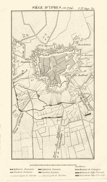 Associate Product Siege of Ypres in 1794. War of the First Coalition. Belgium 1817 old map
