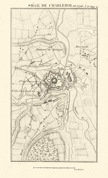 Associate Product Siege of Charleroi in 1794. War of the First Coalition. Belgium 1817 old map