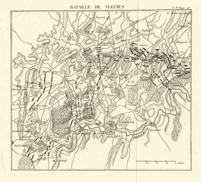 Associate Product Battle of Fleurus. Belgium 1817 old antique vintage map plan chart