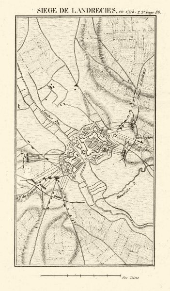Associate Product Siege of Landrecies in 1794. War of the First Coalition. Nord 1817 old map
