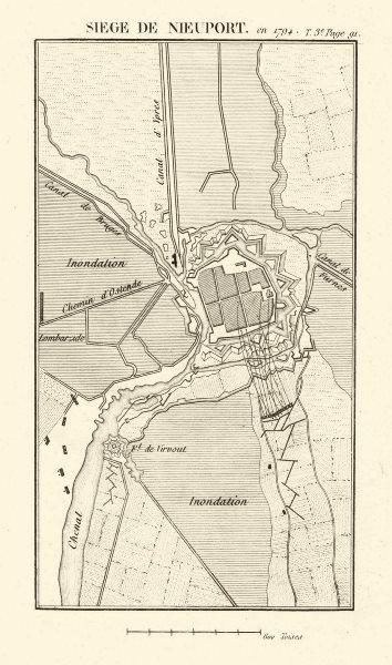 Siege of Nieuwpoort in 1794. War of the First Coalition. Belgium 1817 old map