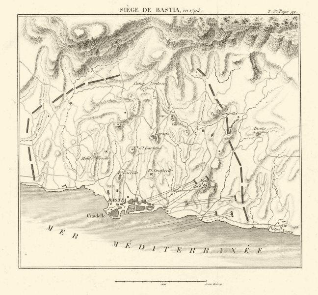 Siege of Bastia 1794. War of the First Coalition. Corsica. Haute-Corse 1817 map