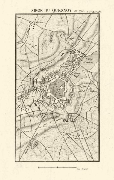 Associate Product Siege of Le Quesnoy in 1794 (1793?). War of the First Coalition. Nord 1817 map