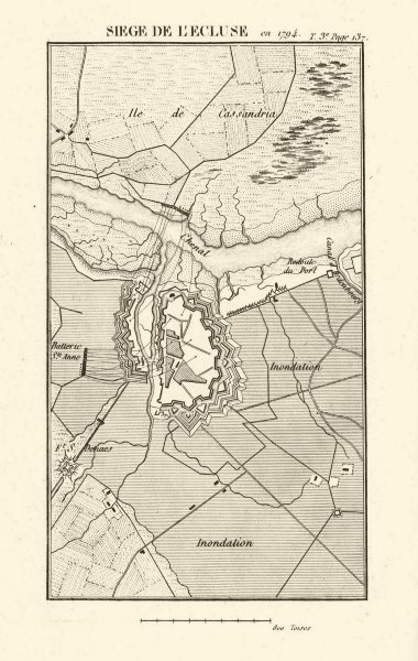 Associate Product Siege of l'Ecluse (Sluis) 1794. War of the First Coalition. Netherlands 1817 map