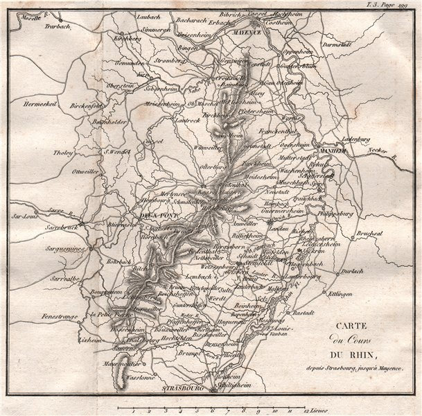 Associate Product Map of the Rhine From Strasbourg to Mainz. Mannheim Vosges. Germany 1817