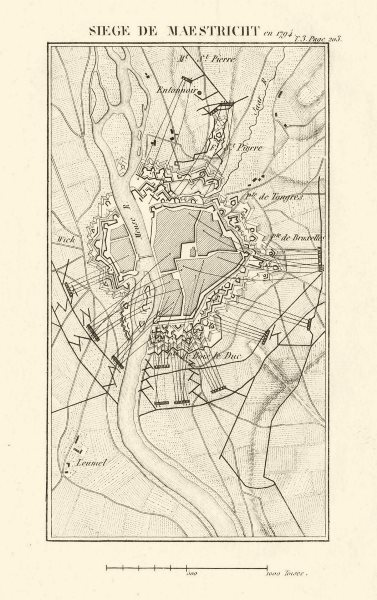 Associate Product Siege of Maastricht in 1794. War of the First Coalition. Netherlands 1817 map