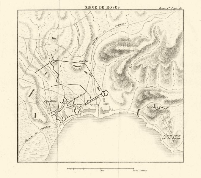 Associate Product Siege of Roses (Rosas) 1794-5. War of the First Coalition. Girona Spain 1817 map
