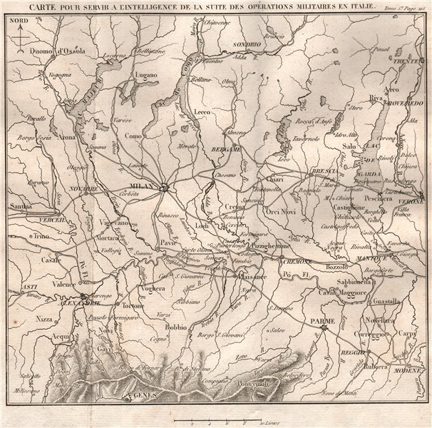 Associate Product LOMBARDY during French Revolutionary Wars. Milan Parma Italian Lakes 1817 map