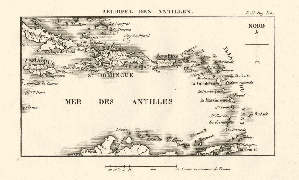 Associate Product Archipel des Antilles'. West Indies Caribbean Iles du Vent 1817 old map