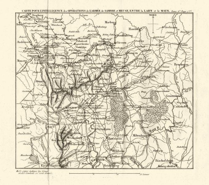 Associate Product WESTERN GERMANY. Napoleonic Battles.Koblenz Mainz Frankfurt Heidelberg 1818 map