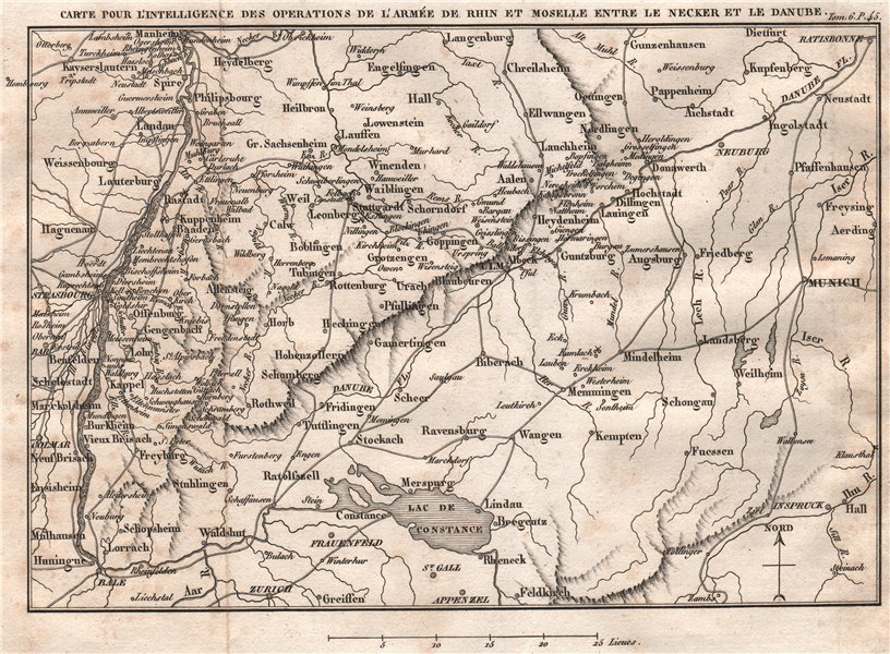 Associate Product SW GERMANY. Baden-Wurttemberg. Napoleon's army of the Rhine 1818 old map