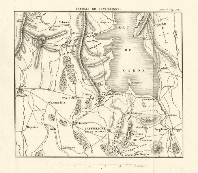 Associate Product Battle of Castiglione delle Stiviere 1796. Lago di Garda Brescia Italy 1818 map