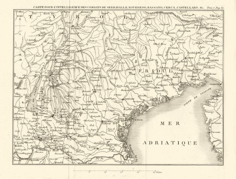 1ST COALITION WAR. Battles Serravalle Roveredo Bassano Cerca Castellaro 1818 map