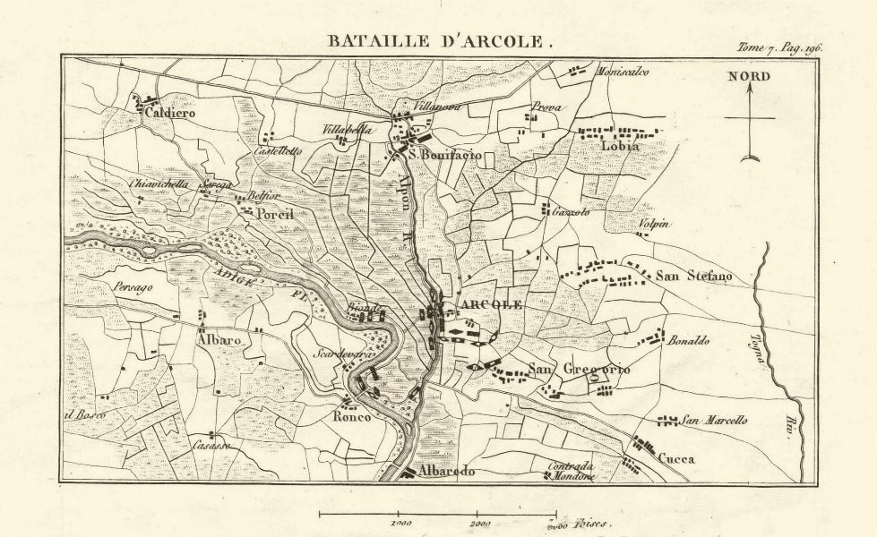 Associate Product Battle of Arcole 1796. War of the First Coalition. Italy 1818 old antique map