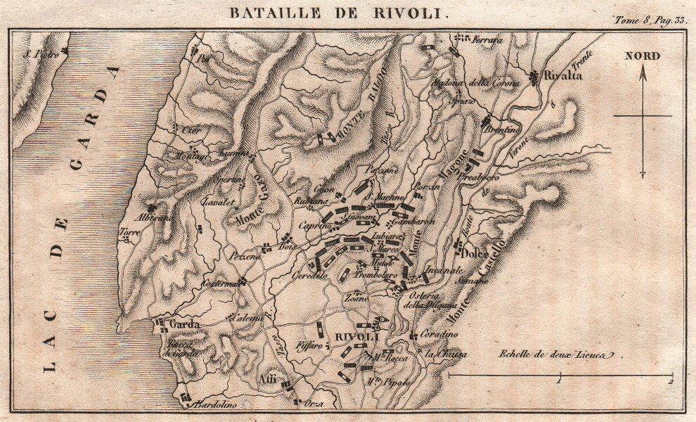 Associate Product Battle of Rivoli Veronese 1797. Lago di Garda. Lake Garda. Italy 1818 old map