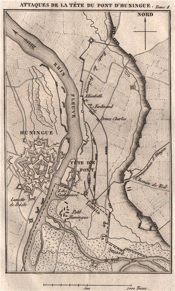 Associate Product Huningue bridge attack. Battle of Schliengen 1796. First Coalition War 1818 map