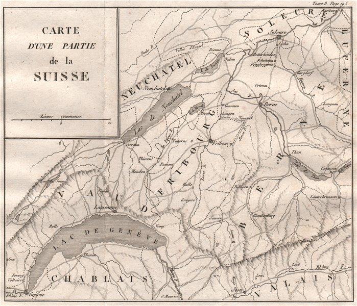 Associate Product WESTERN SWITZERLAND. Vaud Fribourg Berne Neuchatel 1818 old antique map chart