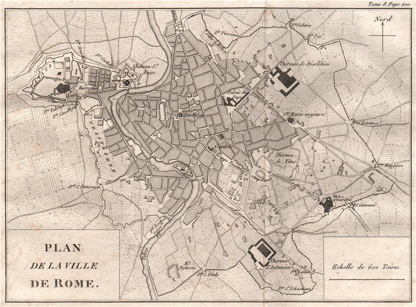 Associate Product Plan of the City of ROME. Roma 1818 old antique vintage map chart