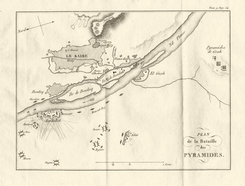 Associate Product Battle of the Pyramids (Embabeh) 1798. French Invasion of Egypt 1818 old map
