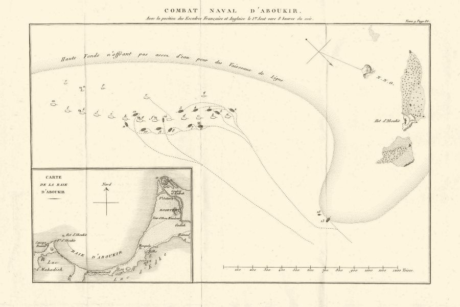 Associate Product Plan of the Battle of the Nile (Aboukir) 1798. French Invasion of Egypt 1818 map