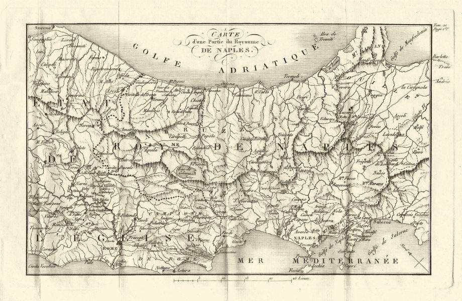 Associate Product CENTRAL ITALY. 'Partie du Royaume de Naples'. Kingdom of Naples 1818 old map