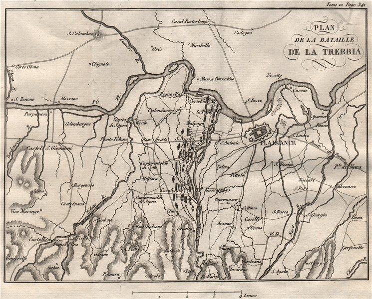 Associate Product Plan of the Napoleonic Battle of Trebia/Trebbia 1799. Piacenza. Italy 1818 map