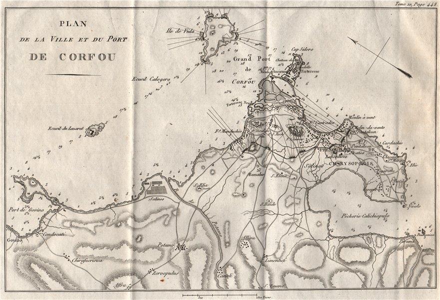 Associate Product CORFU TOWN & port. Siege of Corfu 1798-99. Greece 1818 old antique map chart