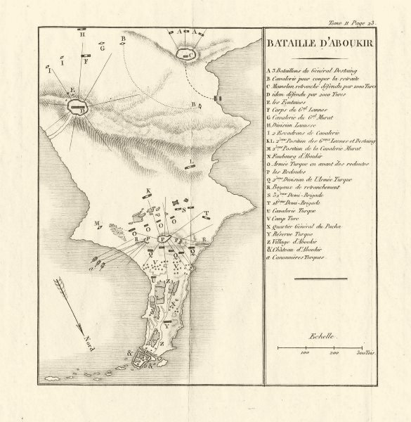 Associate Product Battle of Aboukir/Abukir 1799. French Invasion of Egypt 1819 old antique map