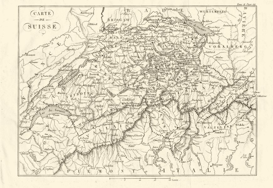 Associate Product Map of SWITZERLAND during the French Revolutionary Wars 1819 old antique