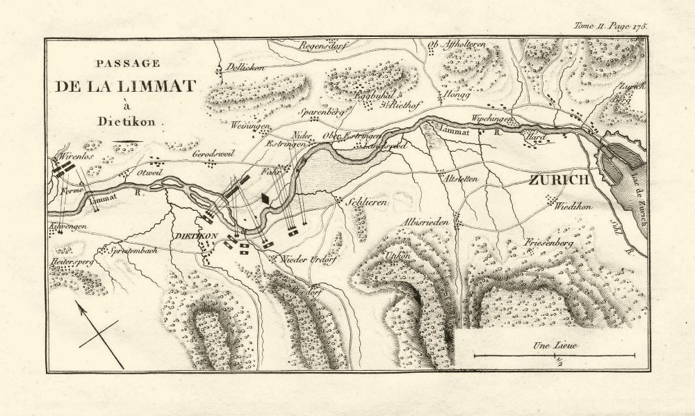 Associate Product Second Battle of Zurich 1799. Passage of the Limmat at Dietikon 1819 old map