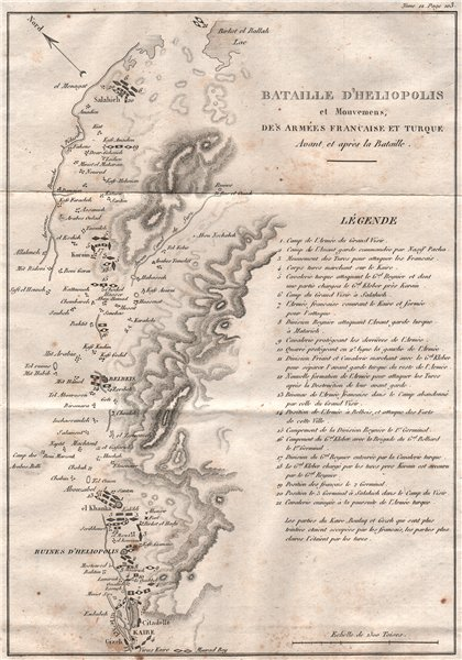 Associate Product Battle of Heliopolis 1800. Troop movements. French Egypt campaign 1819 old map